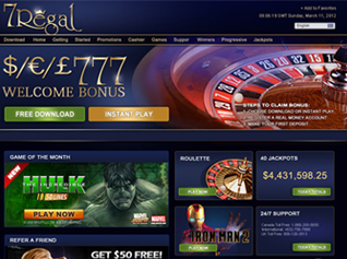 7Regal Casino Homepage